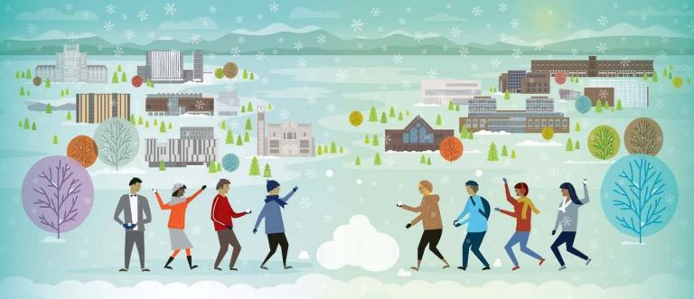 Illustration of students having fun in the snow at UBC