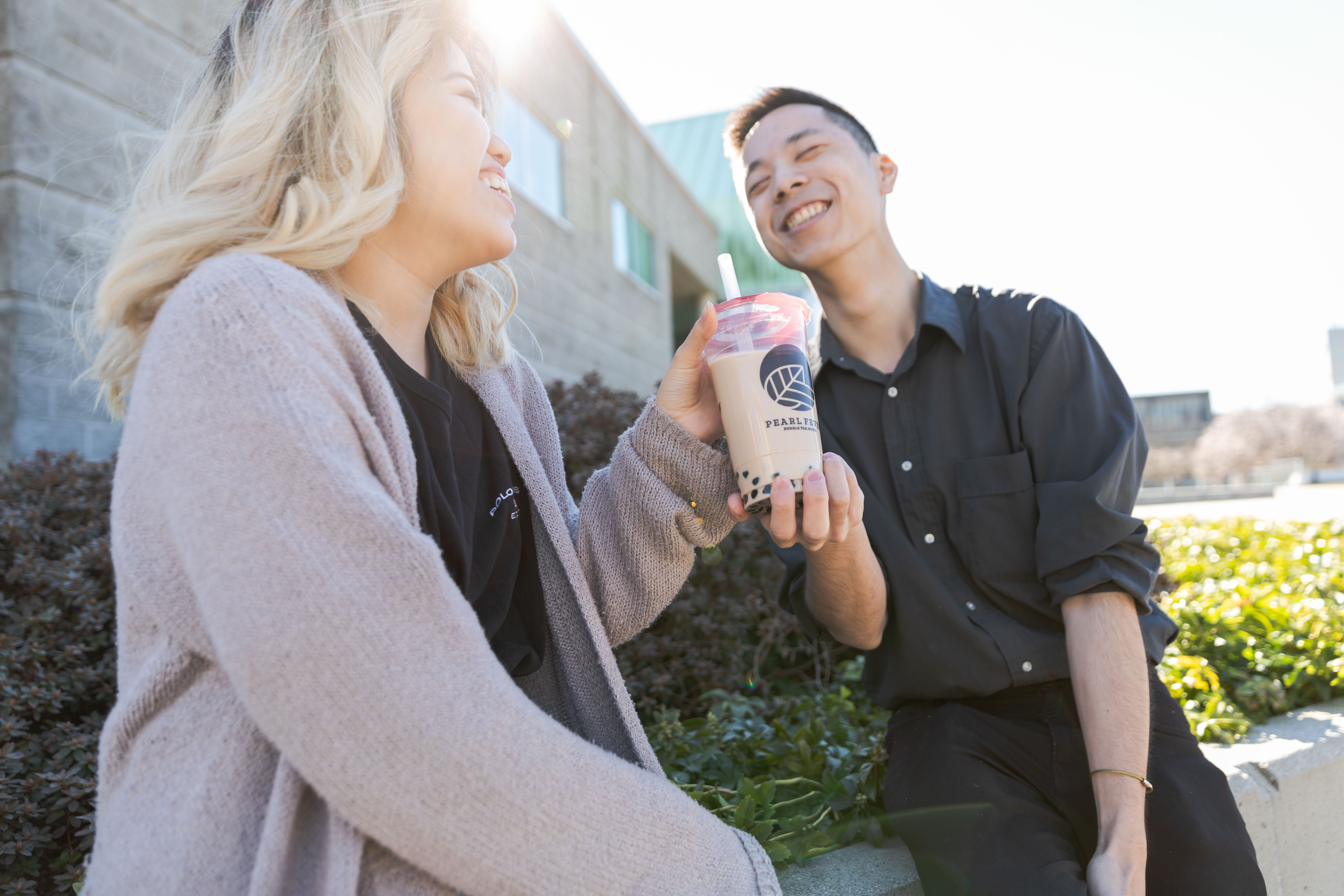 Sara and Shawn holding bubble tea