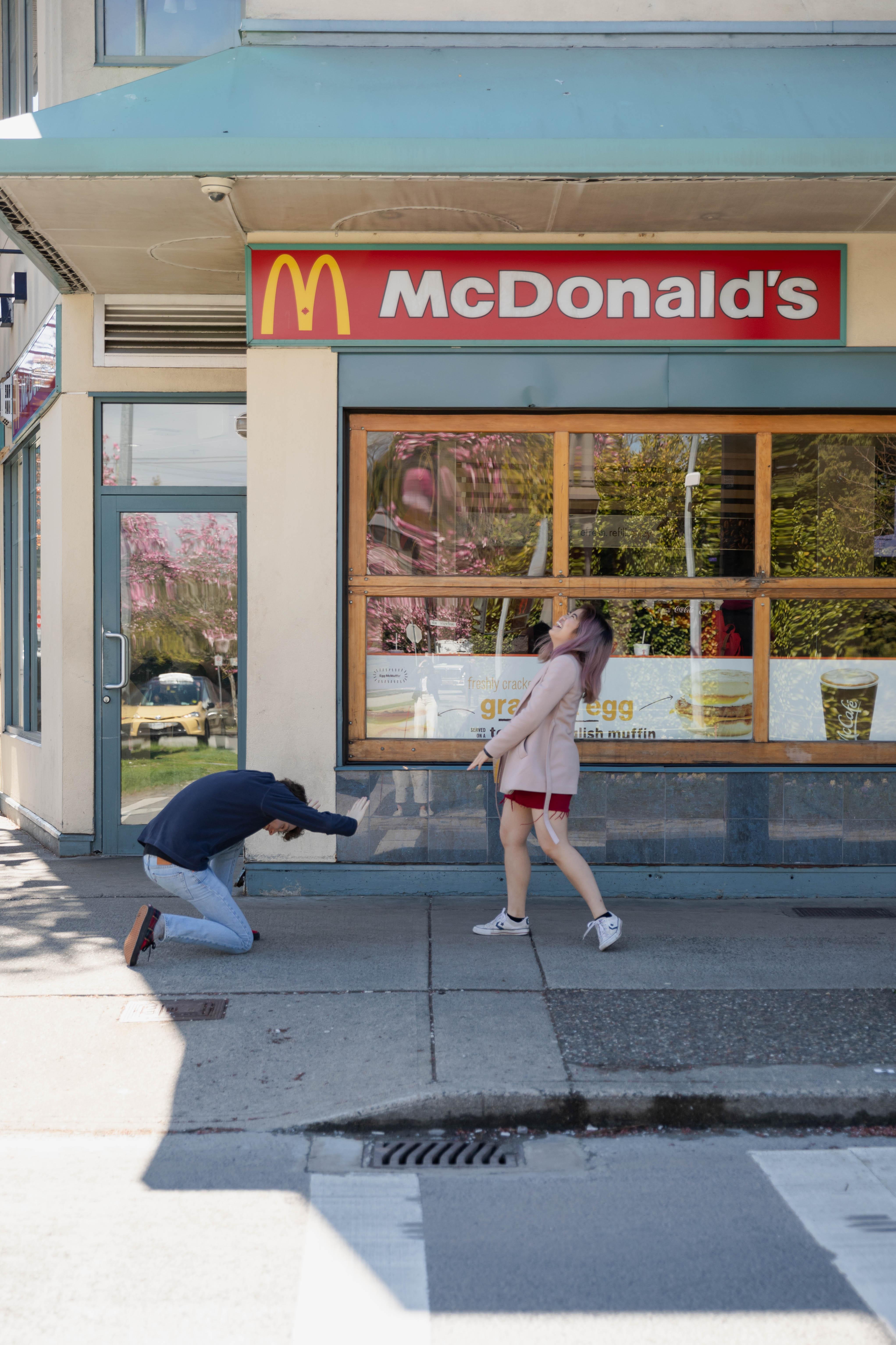 Jordan and Sara outside of mcdonalds