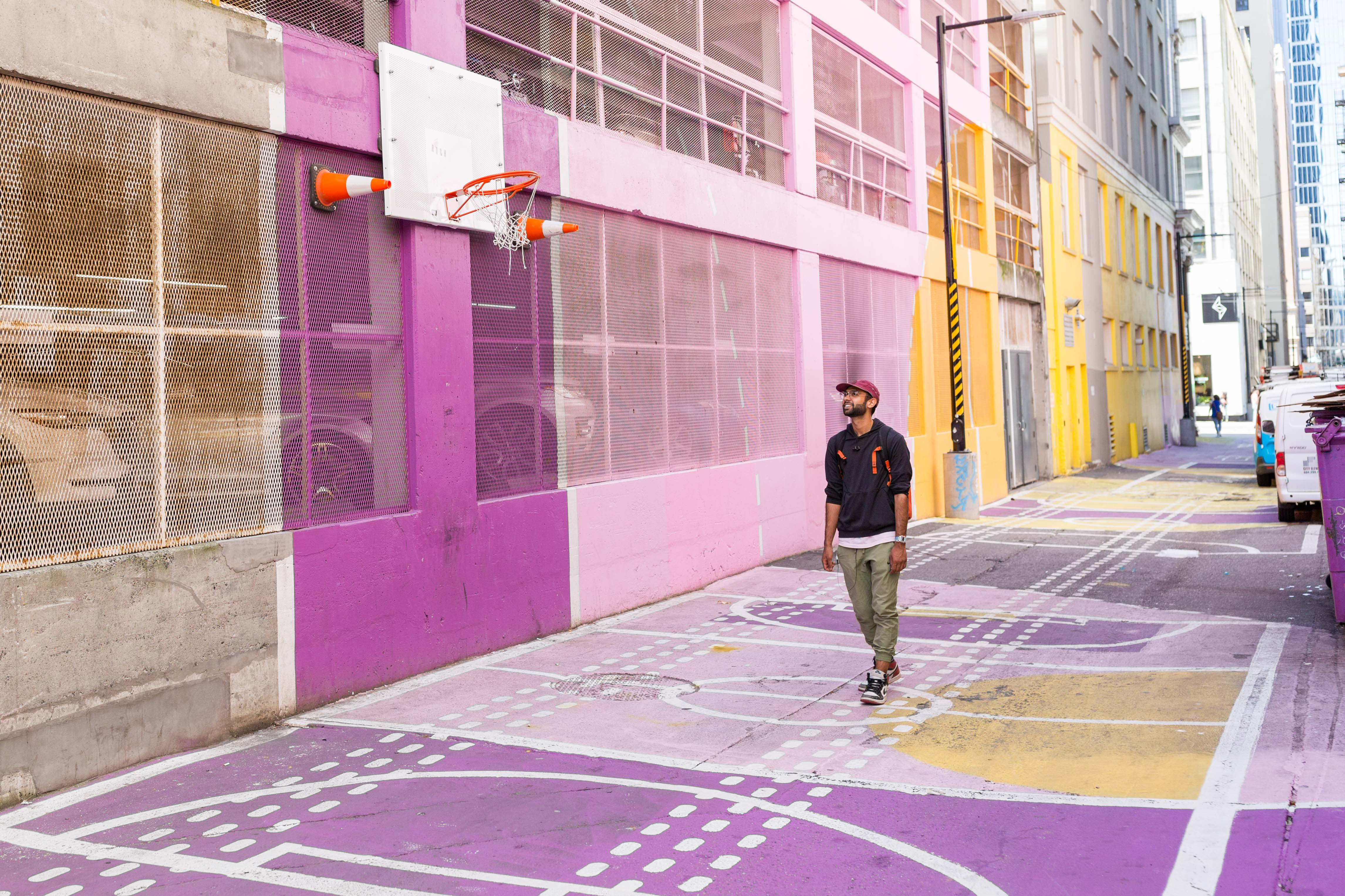 colourful alley downtown, off granville