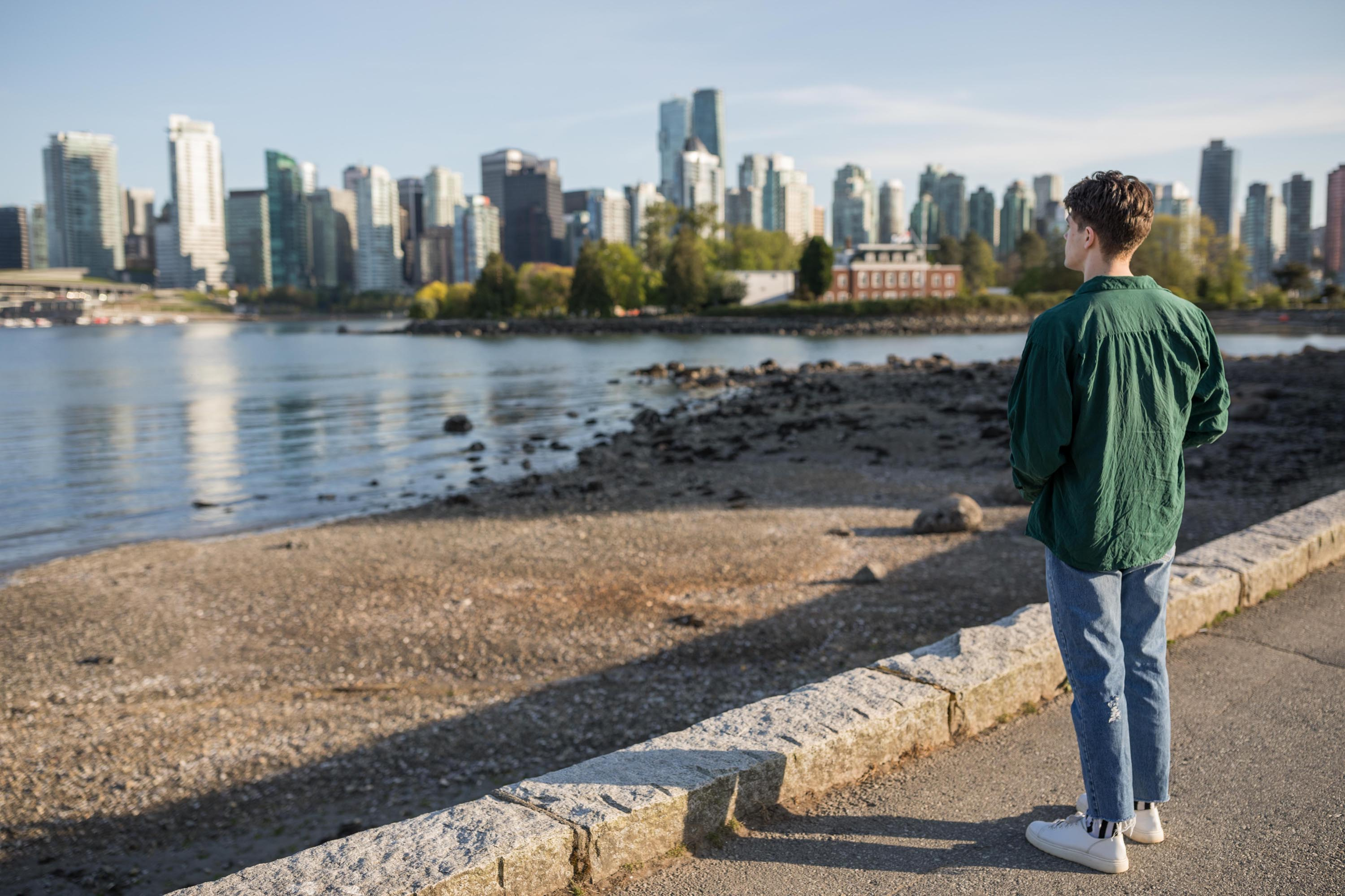 Student on the seawall at Stanley Park