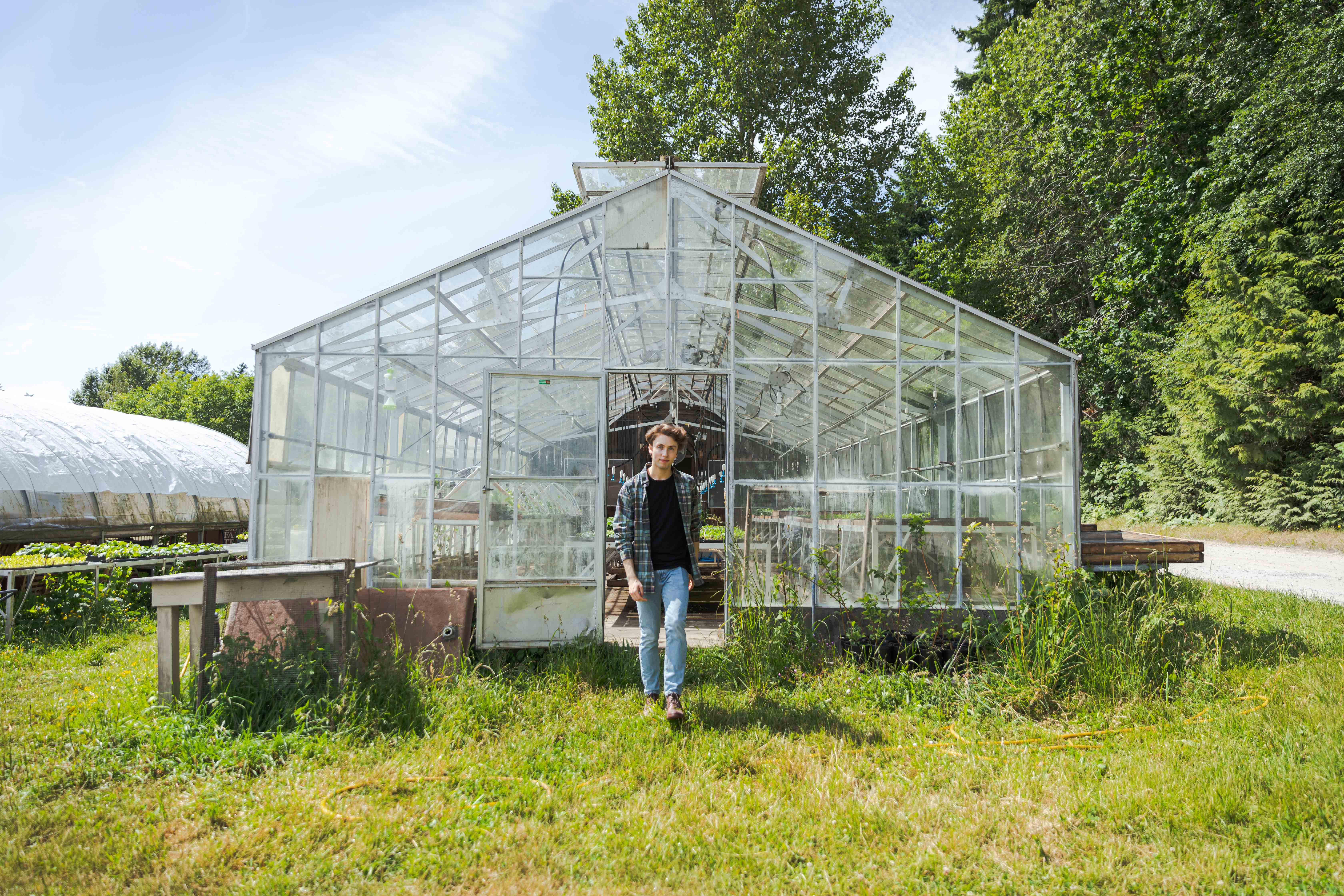 Jordan walking out of a greenhouse like its a runway