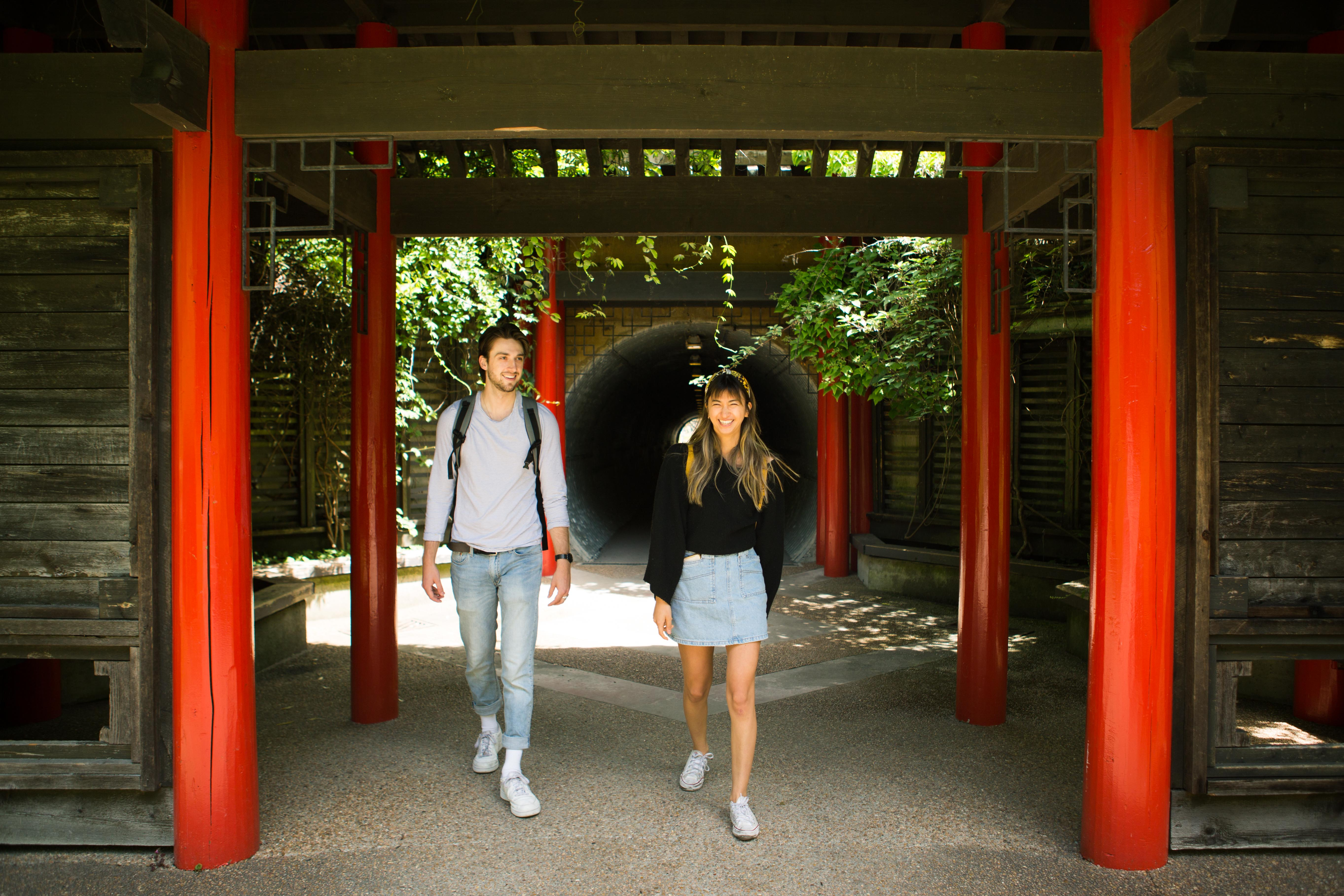 two students at the nitobe garden