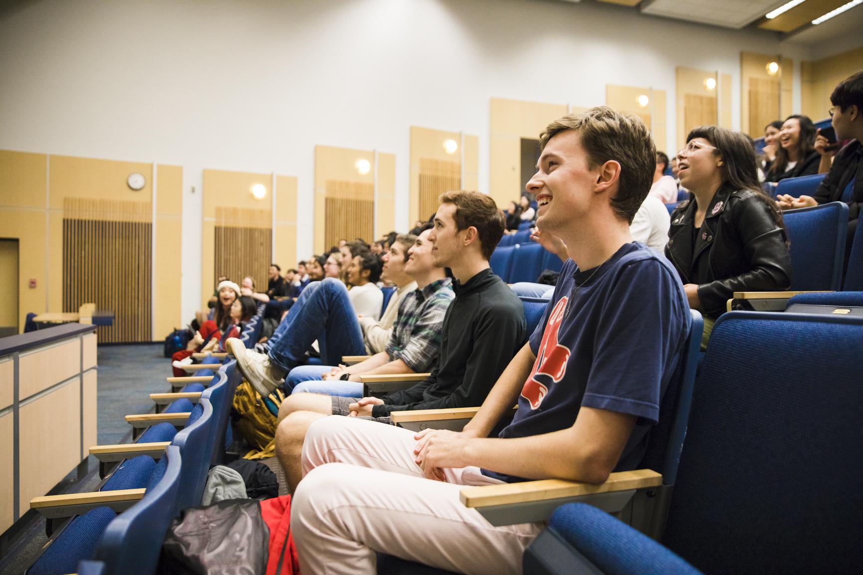 Students at a UBC A Cappella meeting.