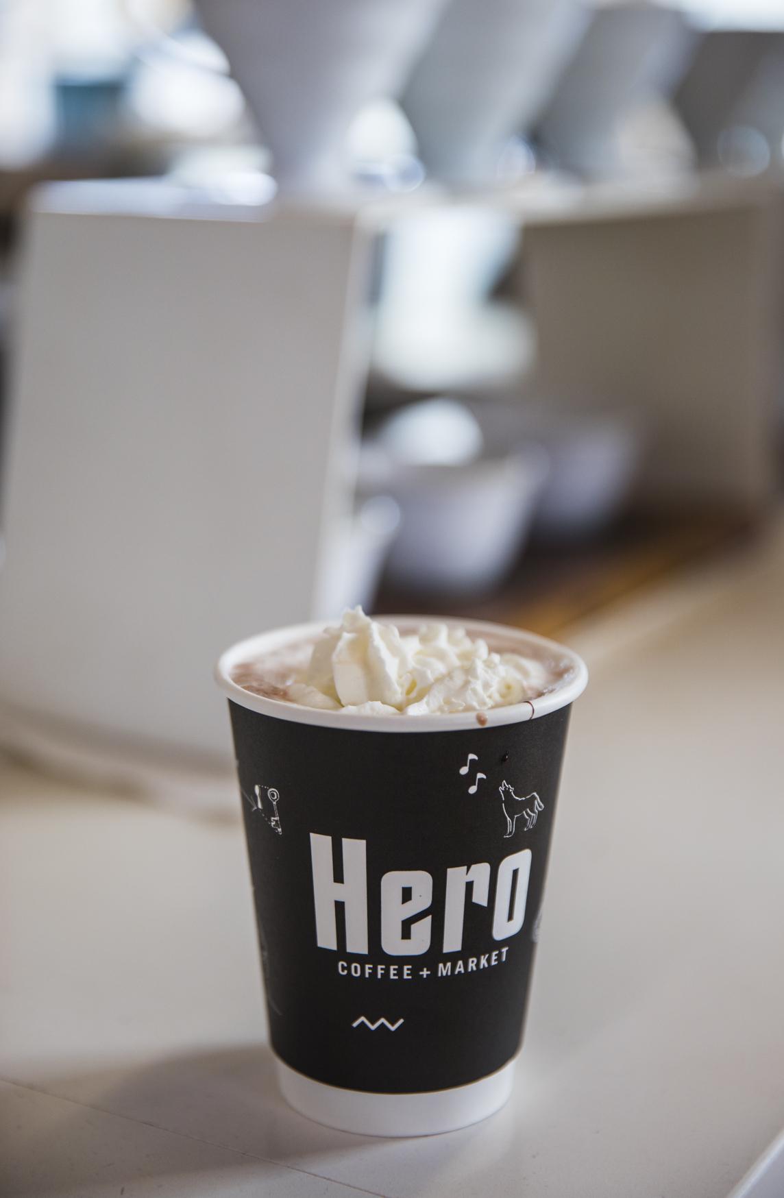 Hero hot chocolate with whipped cream