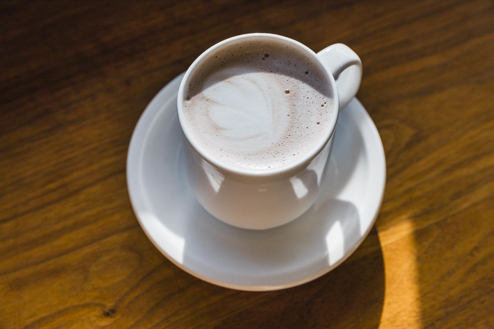 closeup of the hot chocolate