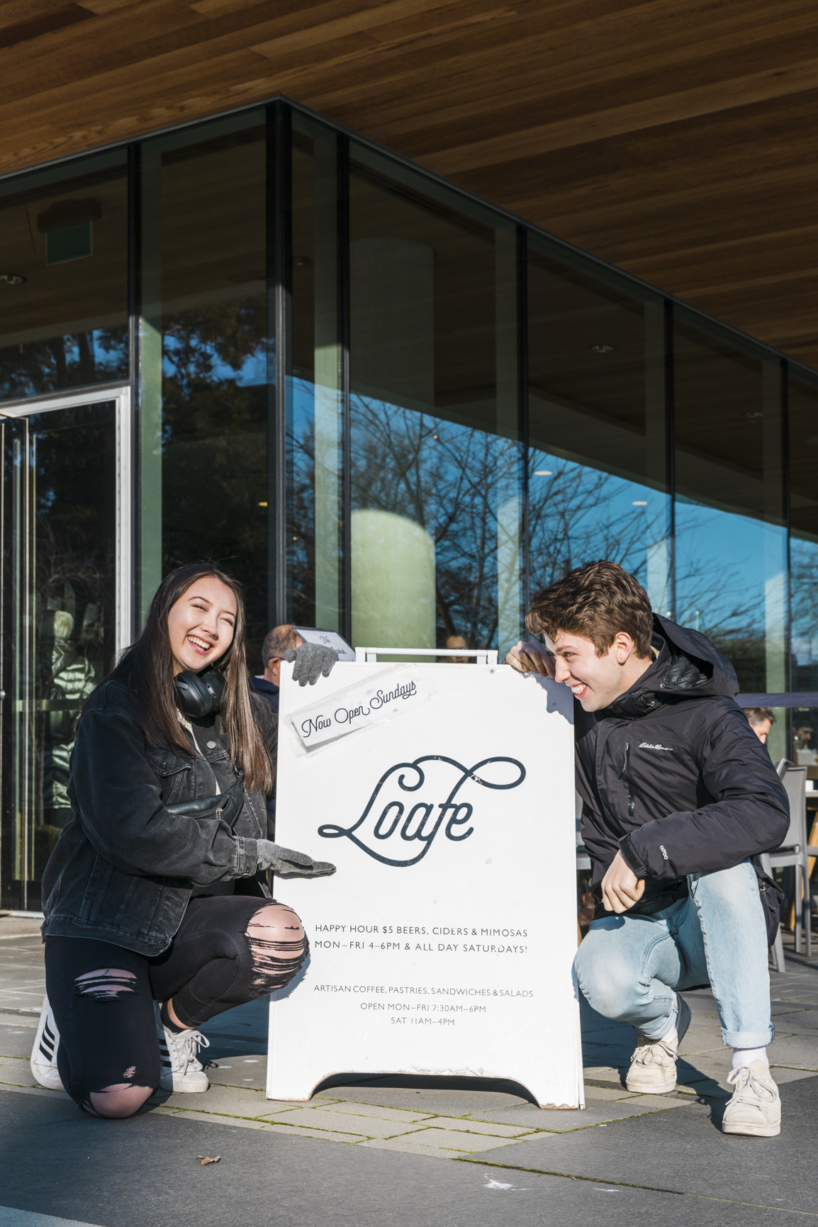 Kana and Jordan with the Loafe sandwich board