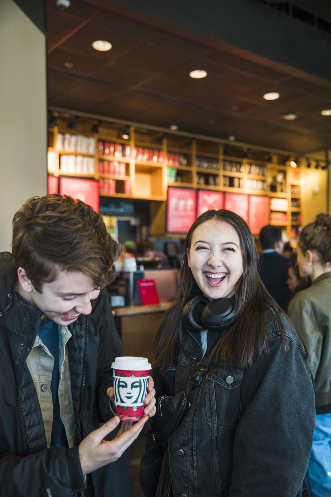 Jordan and Kana posing with the hot chocolate