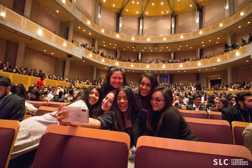 students taking a selfie in the chan centre
