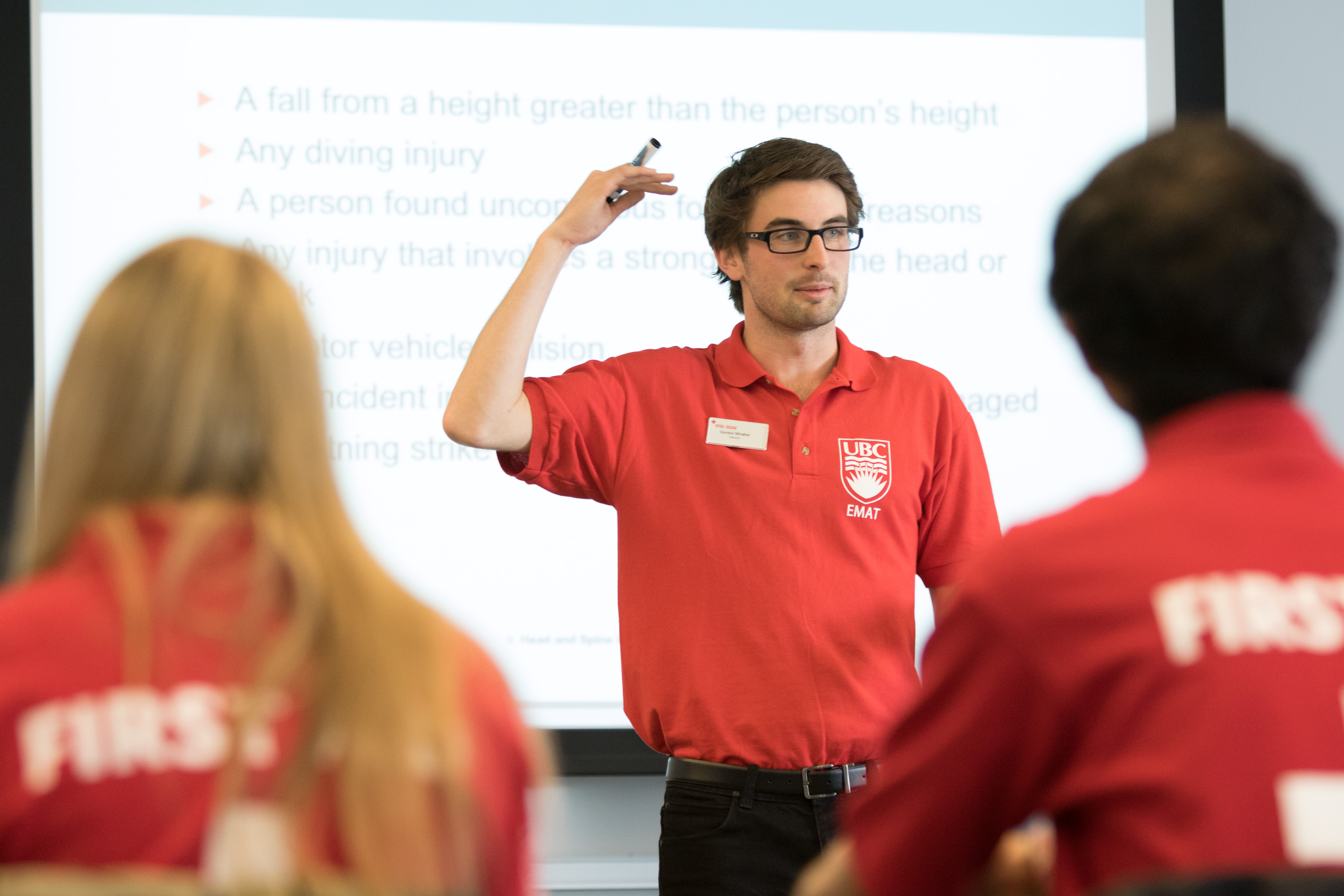 Emergency medical aid team leads a workshop on event safety