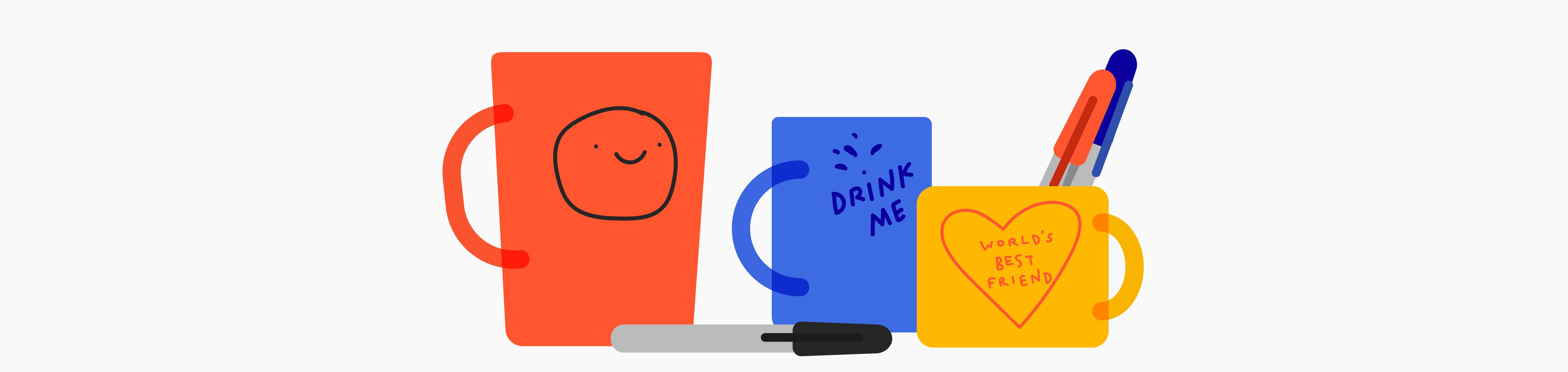 Illustration of a mug sitting atop newspaper