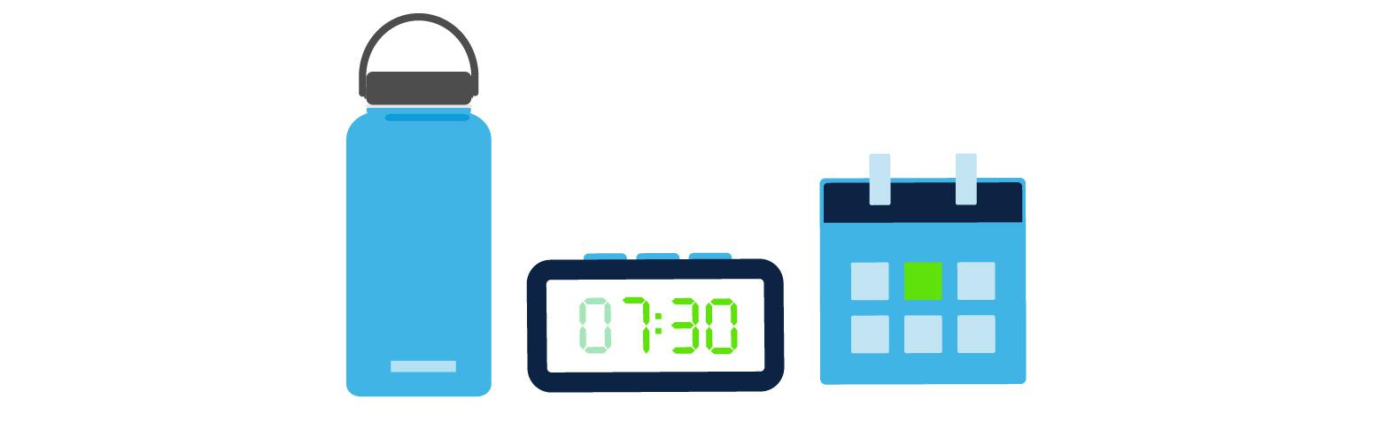 Water bottle, alarm, schedule