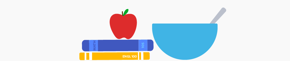 Illustration of an apple, a bowl, and some books