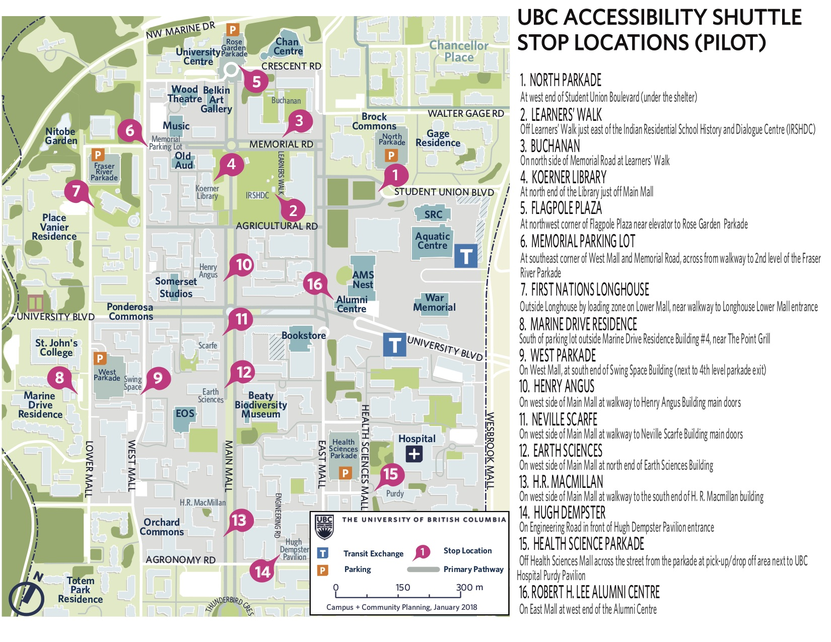 Stop Locations accessibility shuttle