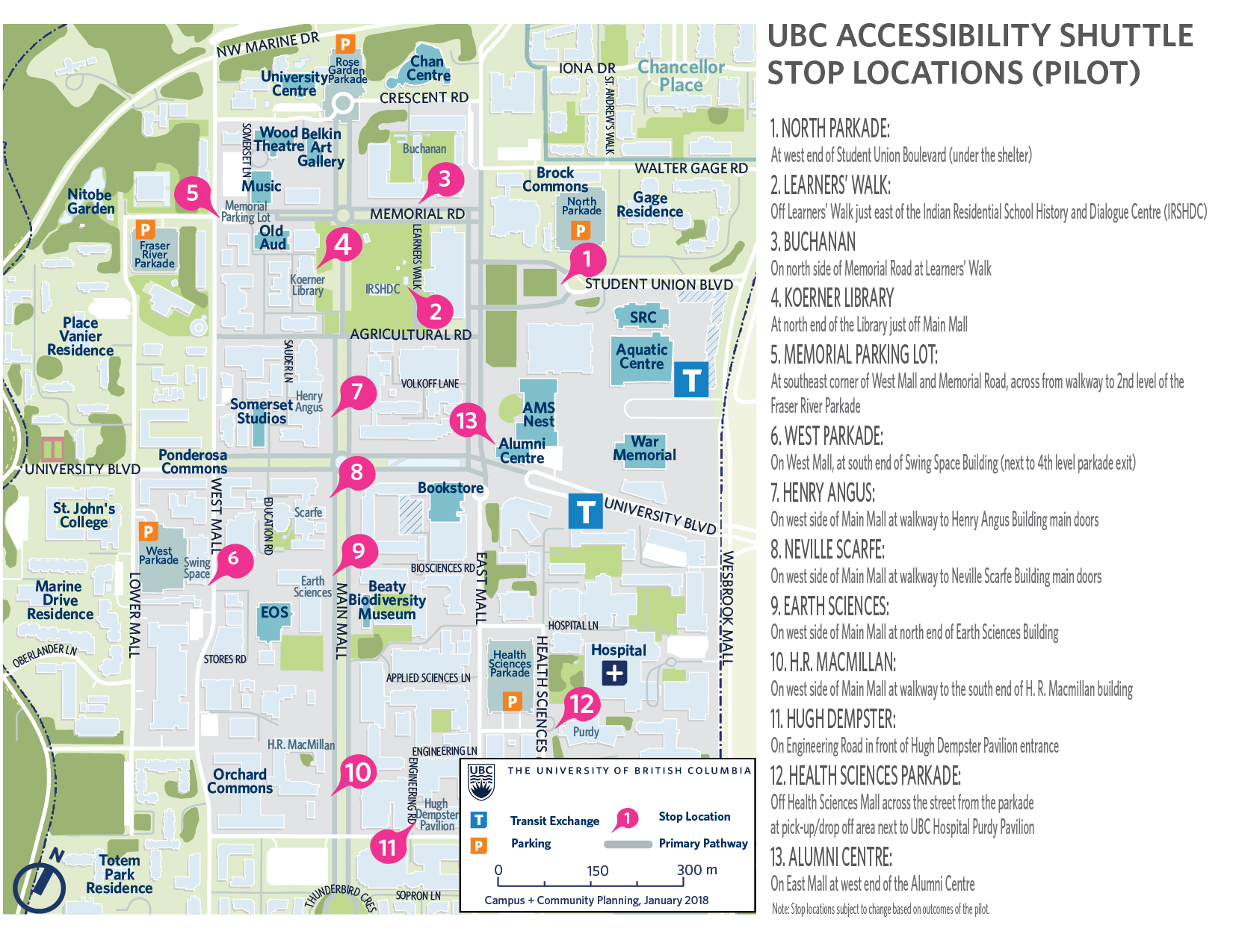 UBC Accessibility Shuttle stop locations