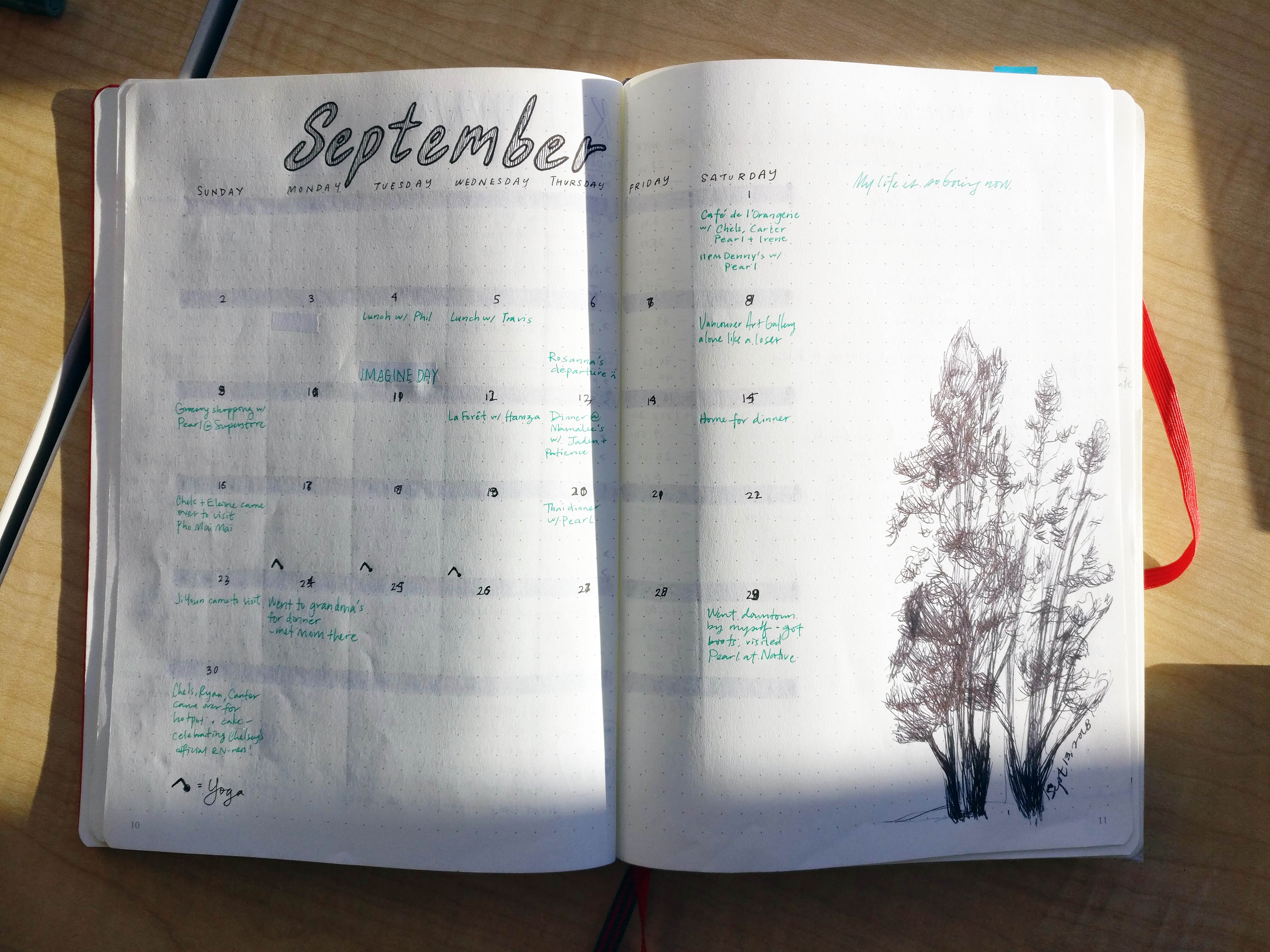 Monthly spread in a bullet journal