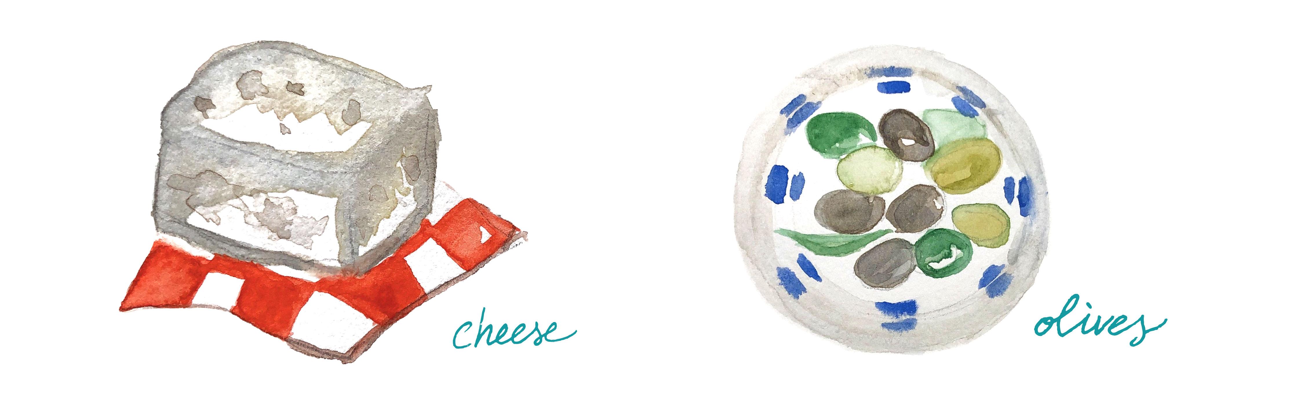 Mediterranean food illustrations