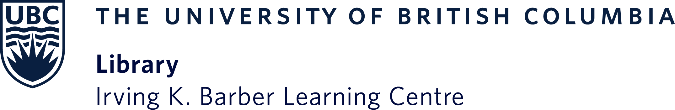 Irving K. Barber Learning Centre logo with UBC crest in dark blue