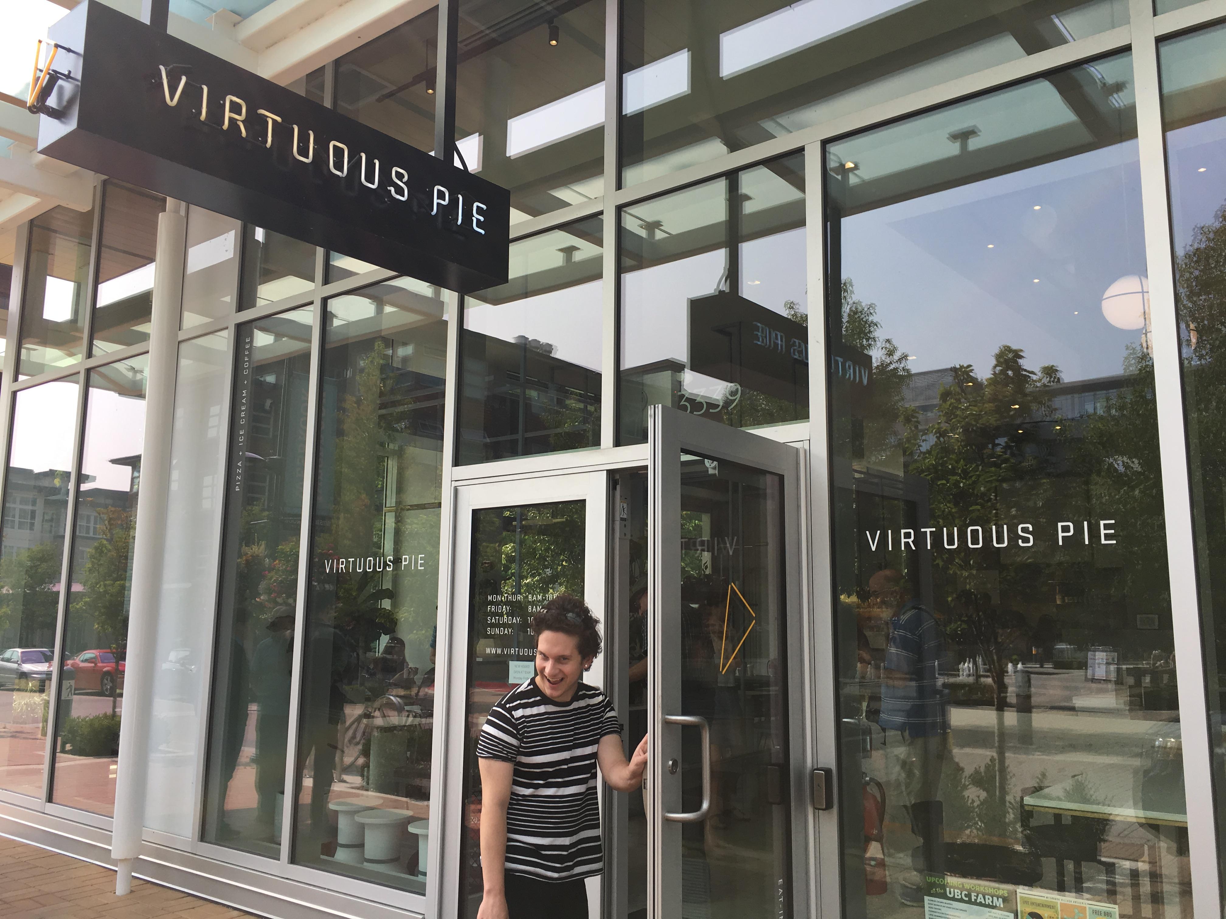 student entering virtuous pie