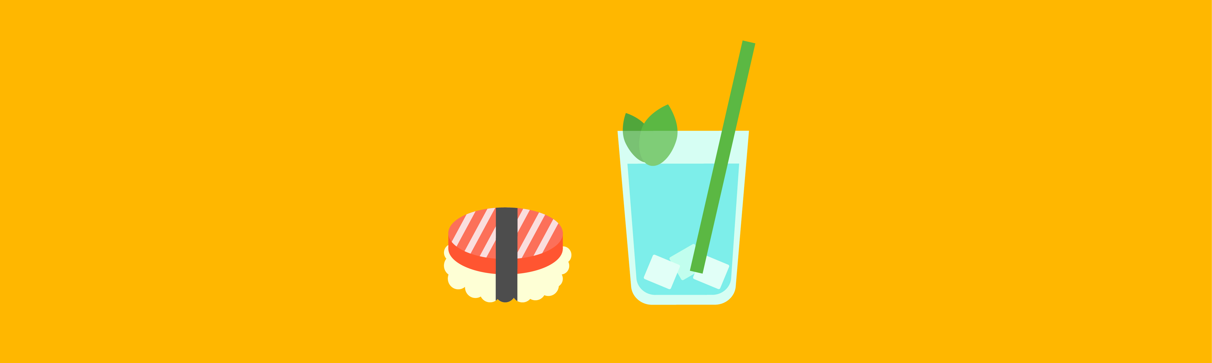 colourful sushi and drink illustration