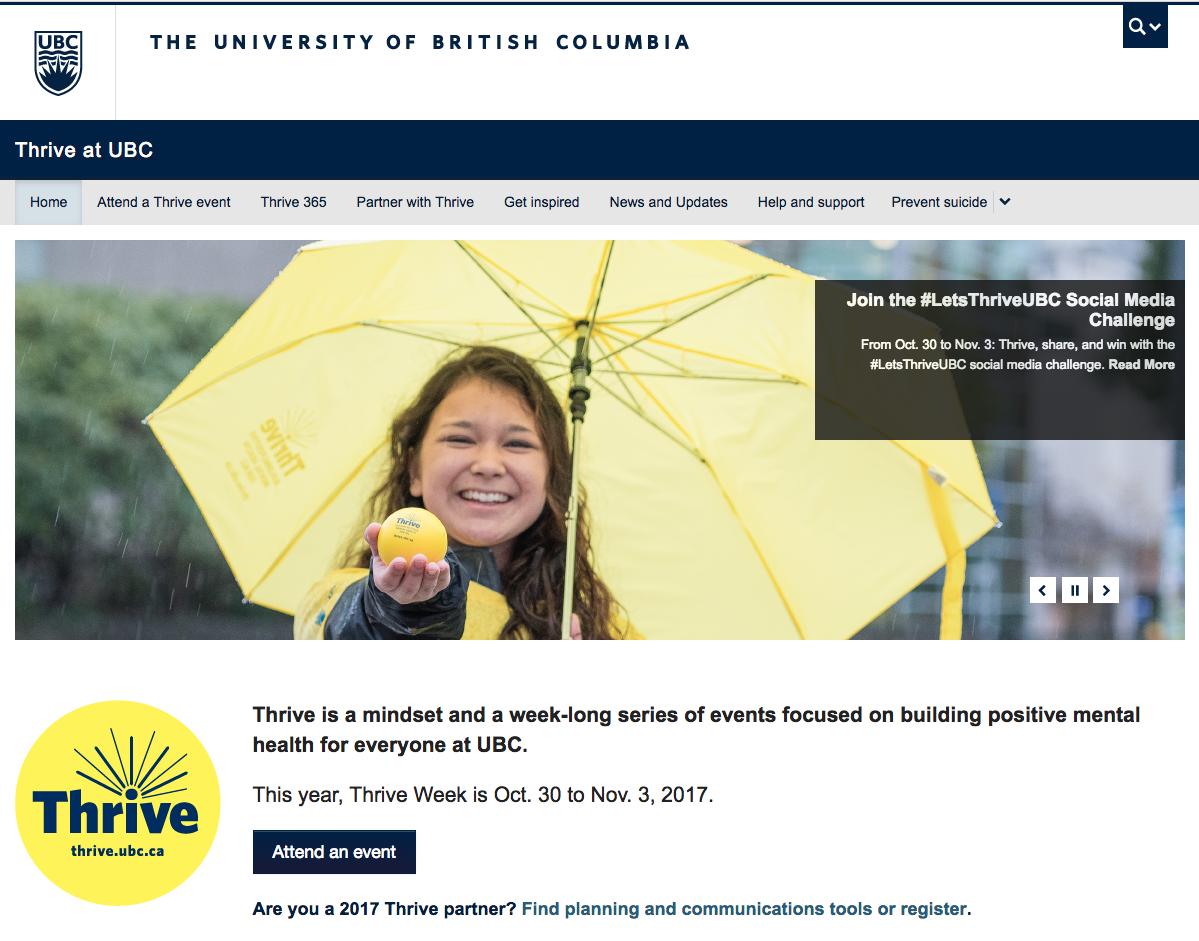 UBC Thrive webpage