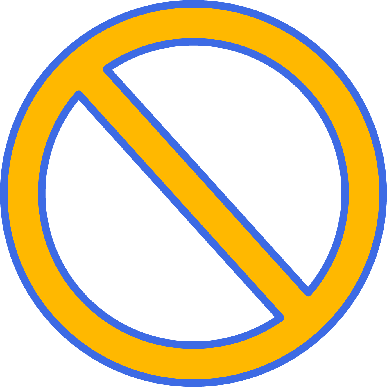 Yellow prohibited sign with blue borders