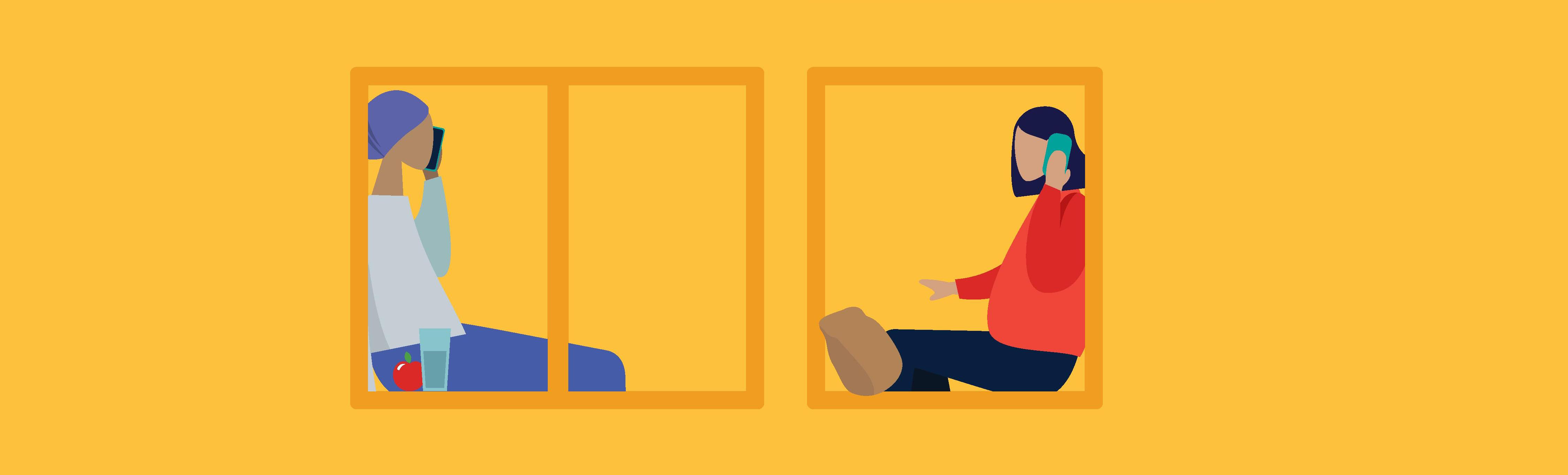 Thrive campaign illustration showing two people talking on the phone