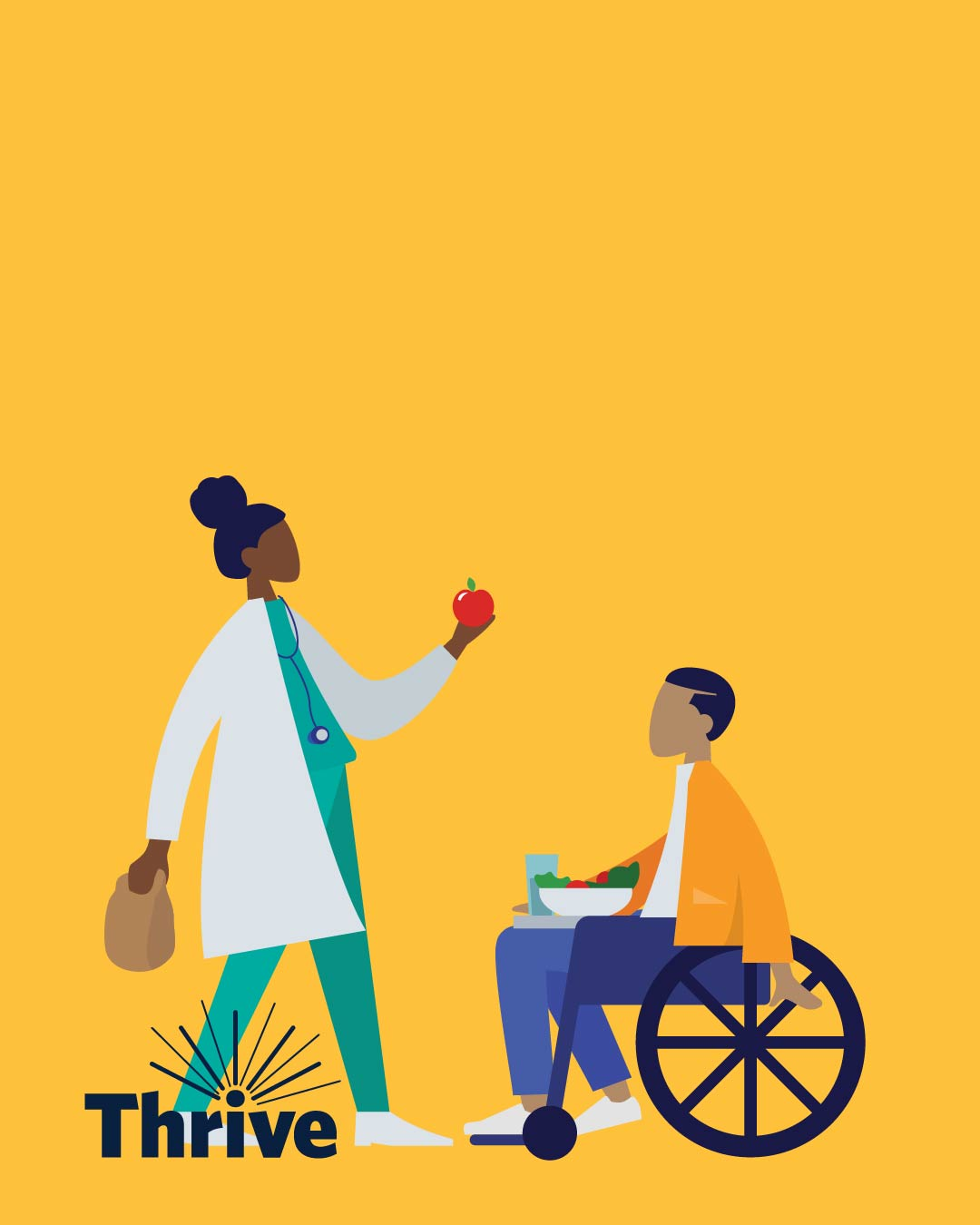 doctor giving student an apple