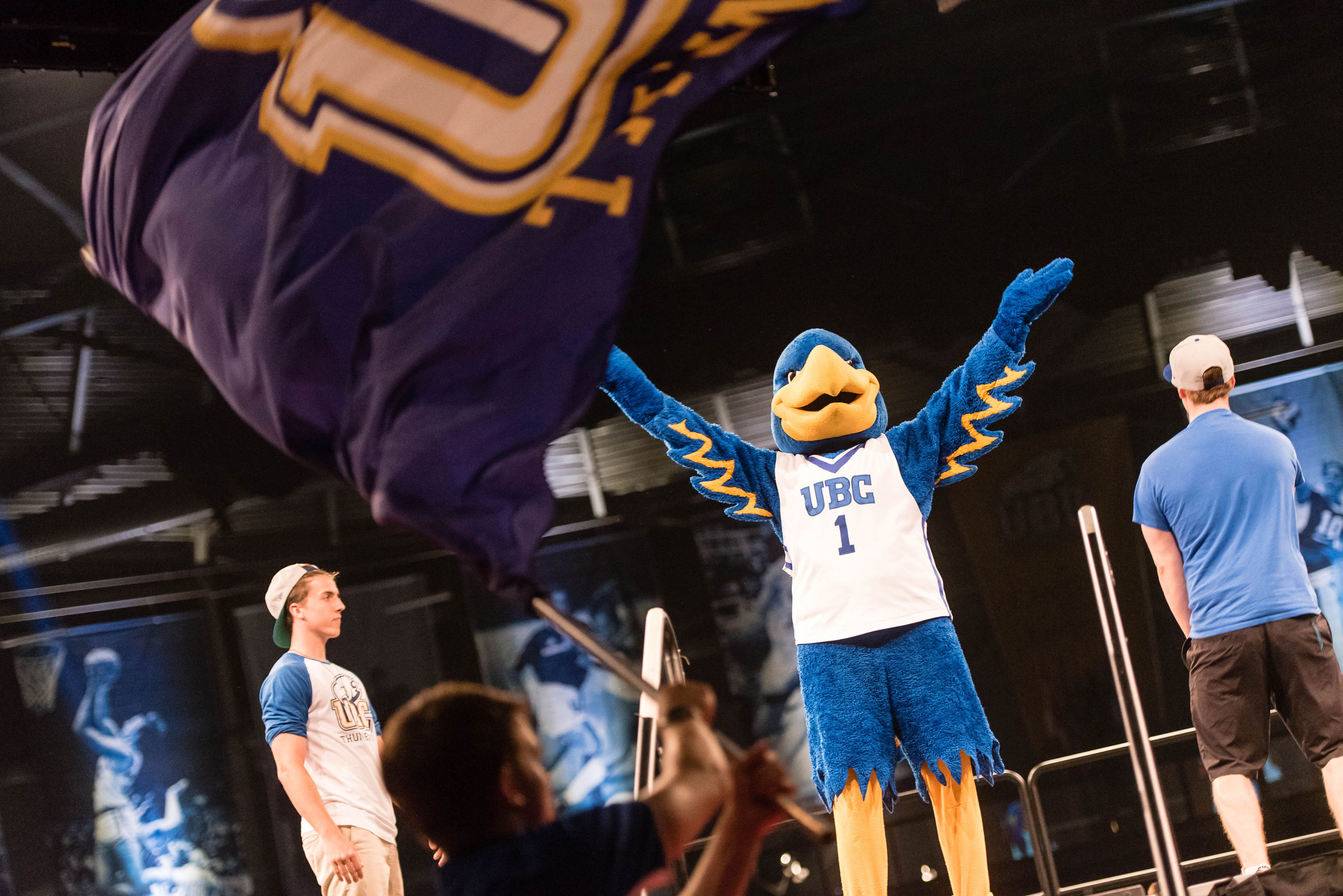 The Thunderbird Mascot getting the crowd hyped up at the Imagine UBC Pep Rally