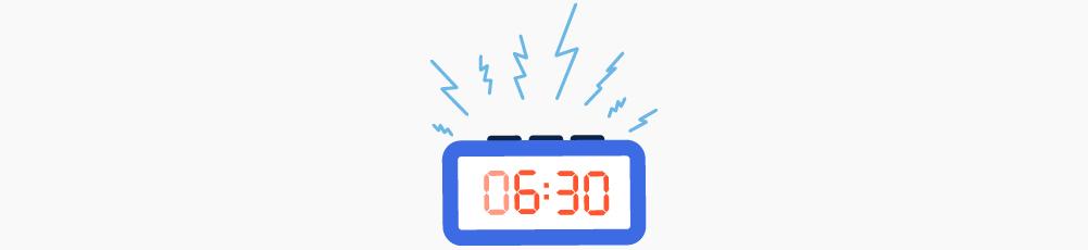 Illustration of a ringing 6:30 alarm