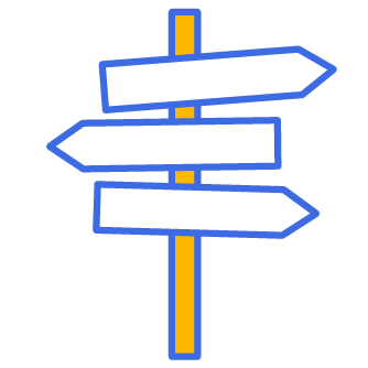 3 arrow signs signifying different paths