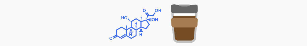Illustration of cortisol and coffee