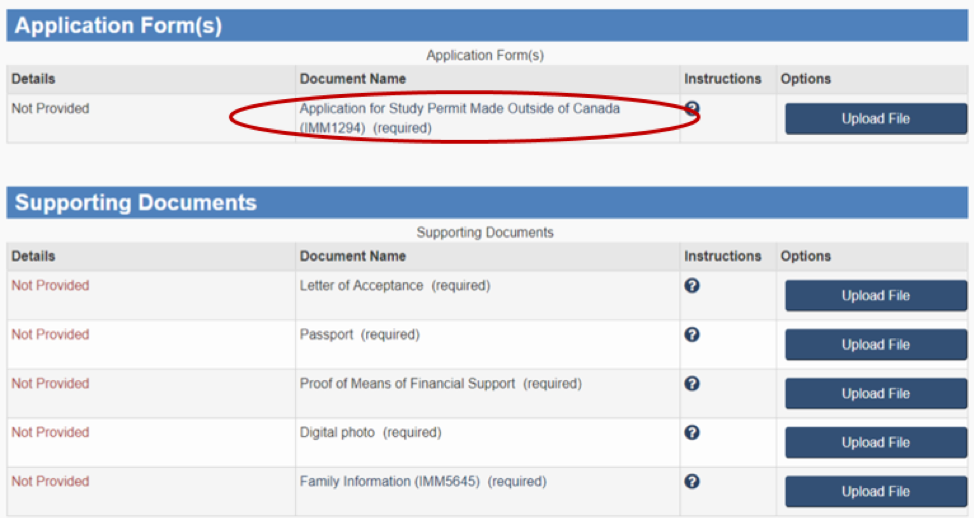 Application for a Study Permit Made Outside of Canada