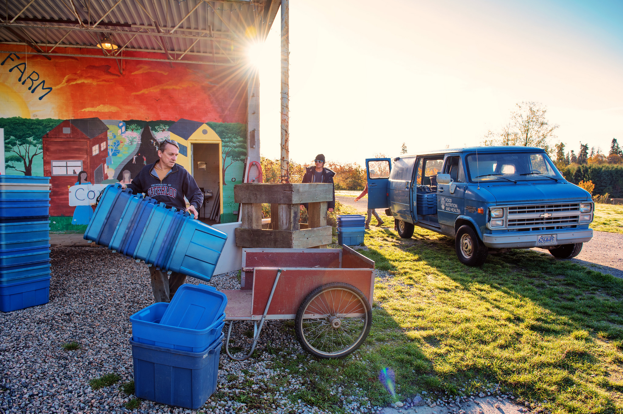 loading crates into a van at the farm