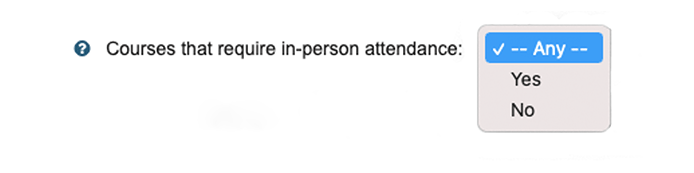 Screenshot of Course Schedule option for in-person attendance