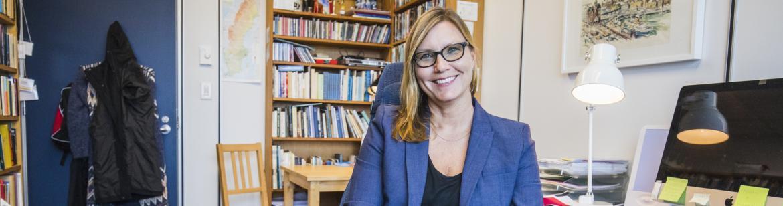 UBC Professor Lena Karlstrom sitting in her office.