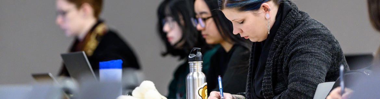 A UBC student writing an exam.