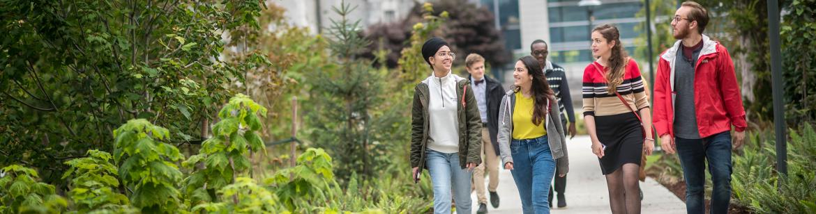 A group of students walking around UBC Vancouver campus