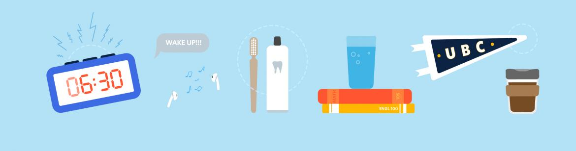 Illustration of morning routine objects