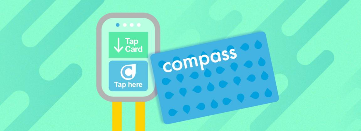 Graphic illustration of Compass card and Translink card reader
