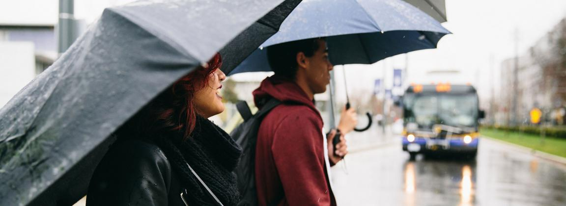 students in rain