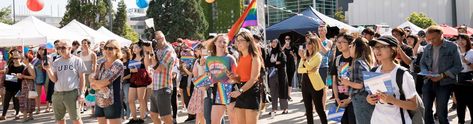 Campus community at a Pride UBC event