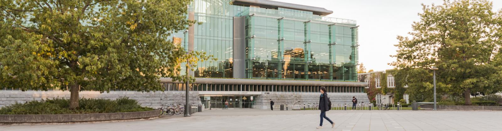 Walking past the Koerner Library