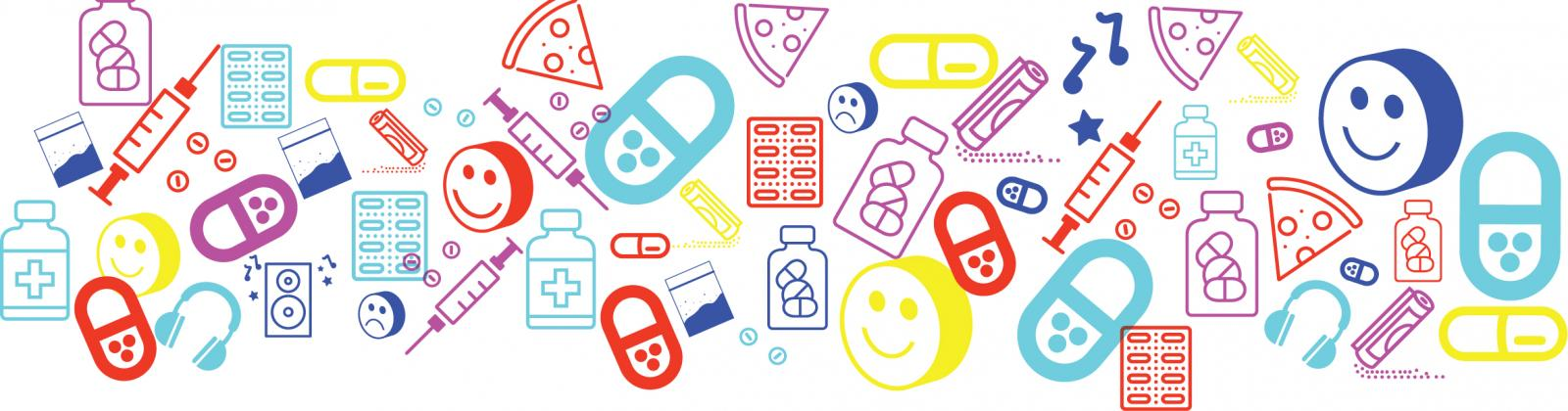 Recreational drugs and party graphics