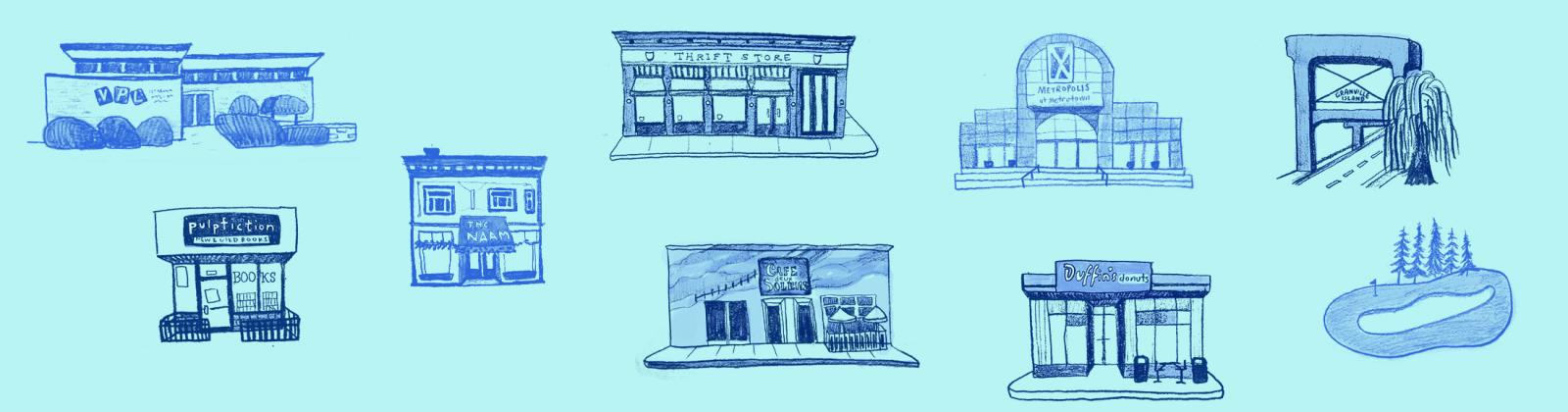 Illustration of Vancouver building fronts