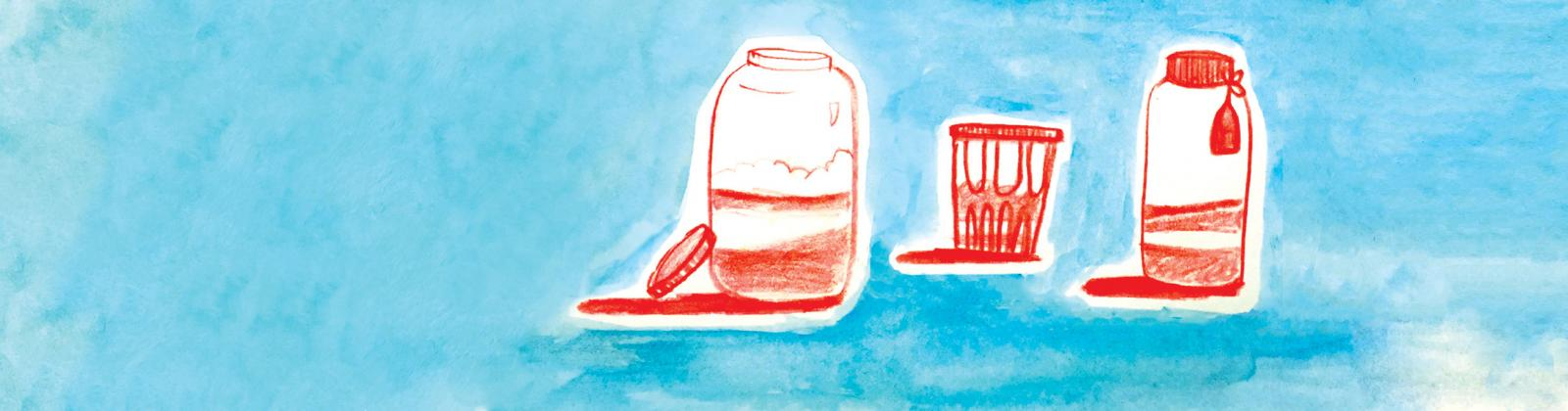 Illustration of red jars on a blue background