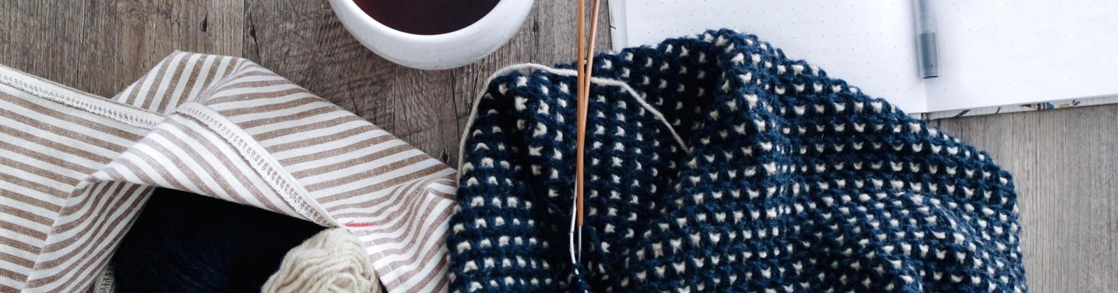 Knitting and coffee