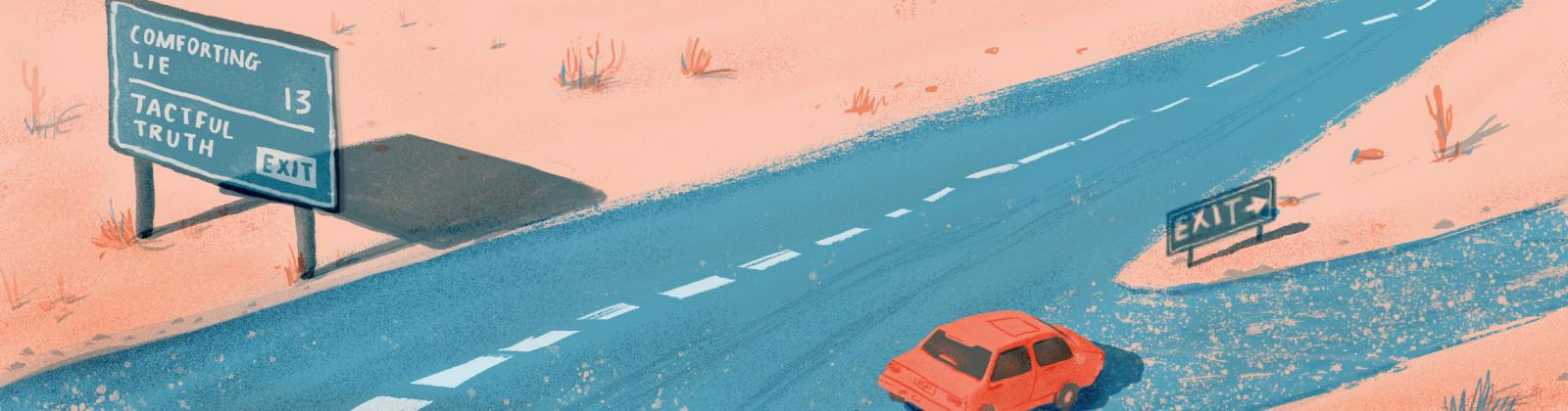 Illustration of car turning into a highway exit that leads to Tactful Truths