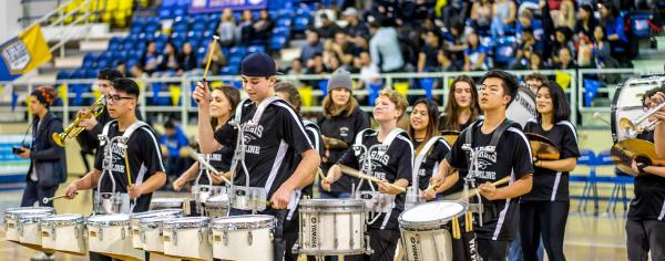 Student band playing at Courtside