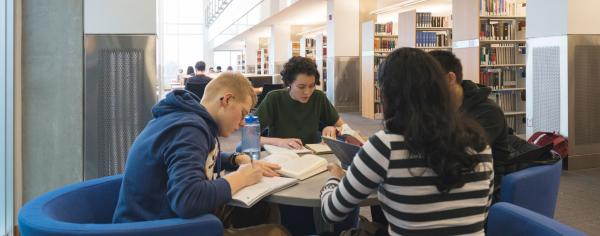 Four students studying at Allard